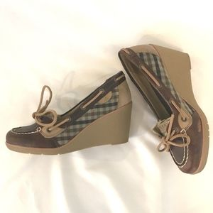 Sperry Top Sider Brown Plaid Leather Wedges Sz 6